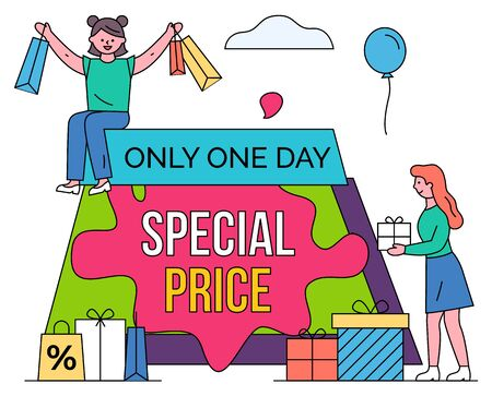 Special price vector, isolated shoppers with bags and purchases. Only one day limited proposal from shops and stores. Woman with presents and balloon decoration. Discounts and sales flat style Illustration