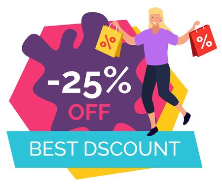 Best discount, promotional banner in blot shape. Woman with purchases on 25 percent off price reduction. Promotion at shop for customers. Advertisements for clients and shoppers . Vector in flat