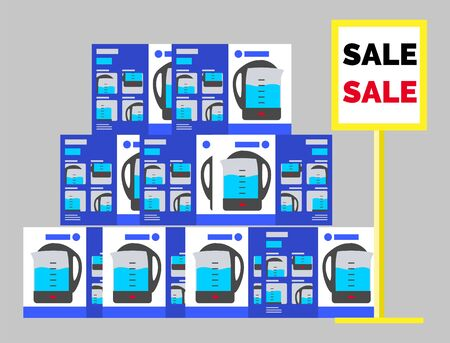 Boxes with new electric kettles at store. Electronics on sale at market. Discounts on kitchen devices and tools. Supermarket with best deals for shoppers. Products in carton, teapots in package vector
