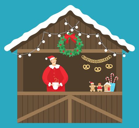 Christmas market kiosk. Isolated wooden construction decorated with garlands and wreath with seller drinking hot coffee or tea. Shop with pretzel, gingerbread cookies and candies sticks vector