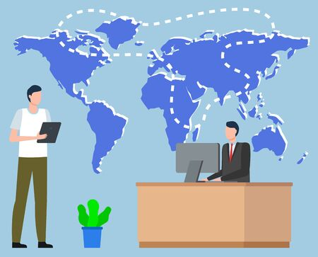 Logistics worldwide b2b, shipping tracking on map, communication by computer. International delivery, export or import, workers discussion. E-commerce trade, distribution between states vector