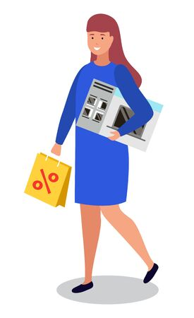 Female character walking with purchased items in hands. Isolated personage holding microwave oven appliance for kitchen and cooking. Woman carrying paper bag with percent symbol of sale vector Illustration