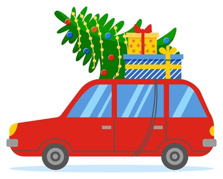 Red vehicle rides on road. Red car on street with fir tree and gifts on roof. People prepare for christmas celebration. Festive garland on evergreen plant, holiday presents in boxes. Vector in flat