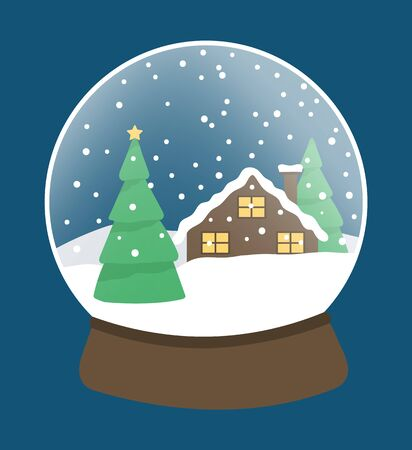 Snow globe made of glass and wood. Traditional Christmas toy with snowing landscape. Pine tree and house at night. Snowball for xmas celebration and greeting. Bauble decoration, vector in flat