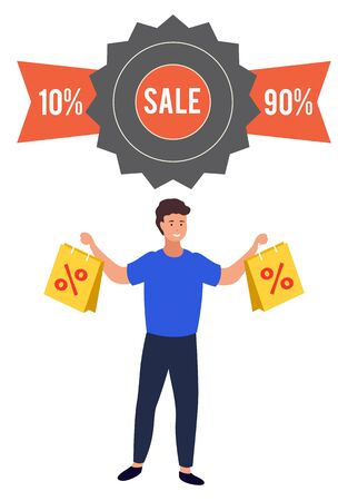 Promotional banner with big sales and reductions. 90 and 10 percent off price. Man showing bags with items bought on special offers and deals from market. Male character shopping with coupons vector