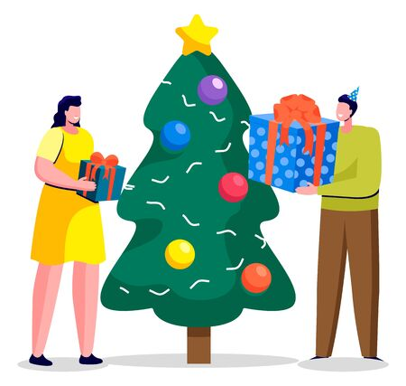 Couple exchanging gifts on christmas. Winter holidays celebration of man and woman. Personages with presents for new year. Evergreen pine tree, fir decorated with baubles and star on top vector