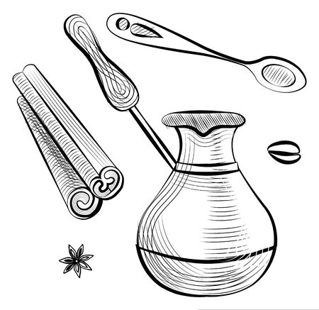 Coffee tool and ingredient, sketch of brewing pot with handle, stick of cinnamon, teaspoon, bean and anise. Shop equipment for cooking java beverage vector