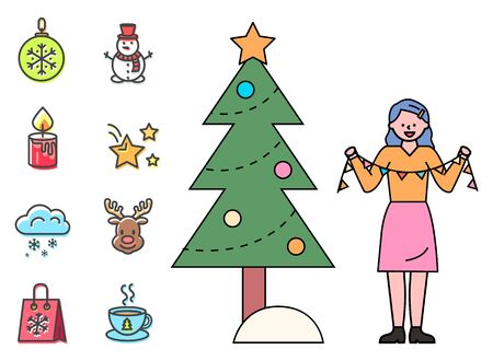Christmas preparation vector, isolated set of xmas icons in flat style. Woman with garland by fir. Bauble with snowflake ornament, snowman and candle with fire. Stars and deer image, cup of hot tea