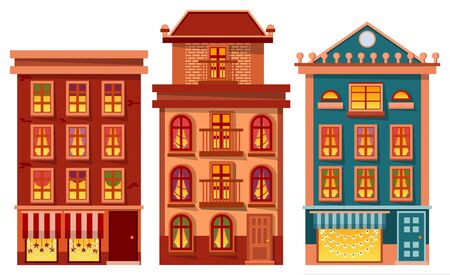 Houses set vector, isolated buildings exteriors. Architecture of city, town or village. Modern and vintage design of construction. Floor decorated with stars and garlands for Christmas celebration