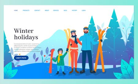 Winter holidays and recreation in wintertime vector. Father and mother with kid wearing special costume for skiers. Skiing activity of family in forest. Website or webpage template, landing page