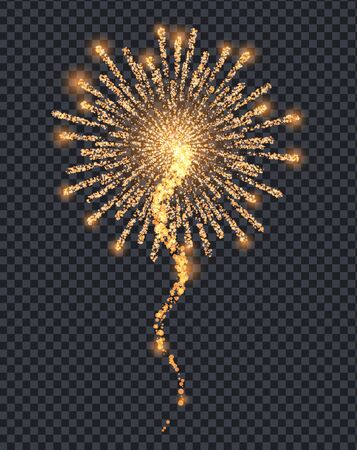 Firework sparkling with lights isolated on transparent background. Explosion for festival, festive moods. New Year celebration holidays. Bright and shiny decoration. Vector sparkle and glittering ray