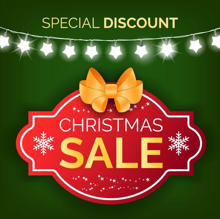 Winter holidays promotional banner vector. Proposition from stores, poster with frame and text. Snowflakes and star shaped garland. Discounts and advertisement of production flat style illustration