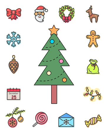 Pine tree with decoration on top of fir vector, isolated icons in flat style. Xmas outlines, santa claus and wreath, gingerbread man and deer symbol. Calendar and candy, cone and baubles toys Stock Illustratie