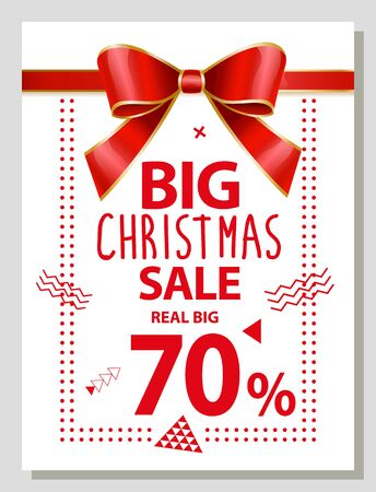 Big Christmas sale, promotion poster with 70 percent sale. Reduction of price on winter season. Banner decorated with ribbon bow and abstract shapes. Shop announcement on shopping proposal vector