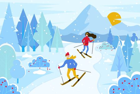 Hobby of people leading active lifestyle. Man and woman skiing in resort. Mountains in forest, trees and sunset. Couple of skiers in winter season. Friends and snowing landscape vector in flat