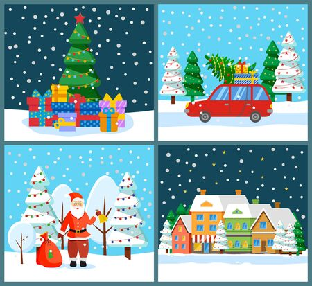 Santa Claus in winter landscape with presents in bag vector. Pine tree with decorations and gifts. Car loaded with spruce and boxes. Street in town with homes in row. Snowing wintry nights set vector