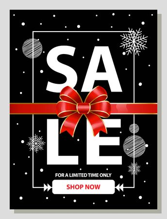 Sale on Christmas and winter holidays. Promotional banner decorated with ribbon bow and frame. Snowflakes and bokeh effect. Special offer and limited time deals for shoppers. Seasonal low prices  イラスト・ベクター素材