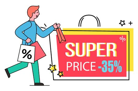 Super price vector, isolated banner in form of bag with handle. Man carrying packages with purchases, exclusive offer 35 percent off reduction of price. Male using clearance and deal of shop Illusztráció