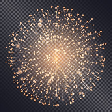 Firework sparkling with lights isolated on transparent background. Explosion for festival or festive moods. New Year celebration of holidays. Bright and shiny decoration. Vector in flat style