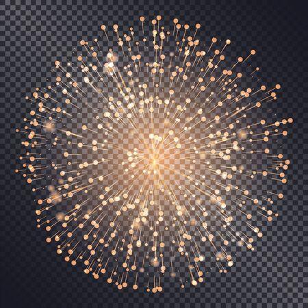 Feuerwerk funkelnd mit Lichtern auf transparentem Hintergrund isoliert. Explosion für Festival oder festliche Stimmungen. Neujahrsfeier der Feiertage. Helle und glänzende Dekoration. Vektor im flachen Stil Vektorgrafik