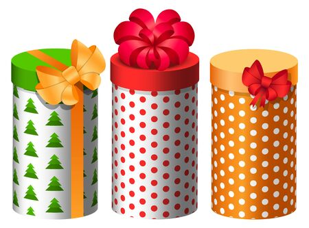 Gift boxes decorated for special events vector. Isolated set of presents in flat style. Rounded packages with bows and ribbons. Birthday and Christmas celebration, greeting with seasonal holidays