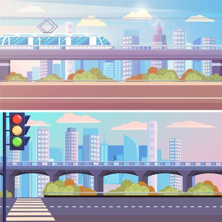 Cityscapes vector, empty highway with pedestrian crossing urban area. Town with traffic lights and train on its way. Downtown skyscrapers and building, city skyline in sunlight. Flat cartoon style