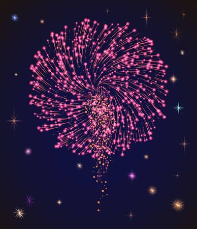 Bright festive firework on holiday celebration. Pyrotechnics show on evening sky among stars. Entertainment for people on diwali. Colorful explosions illustration. Vector picture in flat style