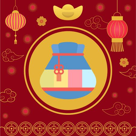 Traditional chinese fortune bag vector, isolated fabric cloth with thread stuffed with symbols of prosperity. Chinese lucky bag. Holiday in China and celebration special occasions, oriental traditions Reklamní fotografie - 134367318