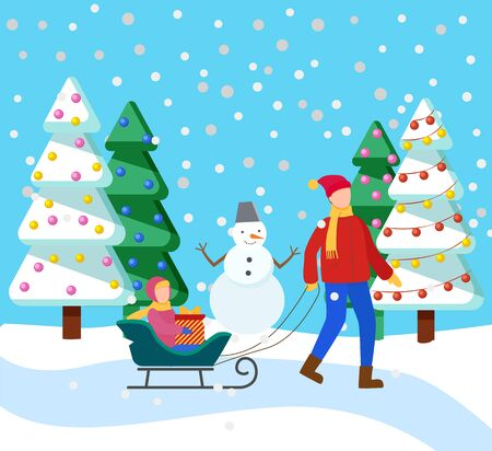 Father and his child spend time actively in winter snowy forest. Parent rides kid on sleigh. Girl sitting on sleigh with present inside box. Fir or pine trees covered in snow. Vector illustration flat