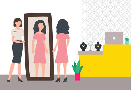 Brunette woman looking at herself in mirror in jewelry store vector. Shop assistant consulting customer to choose and buy luxury necklace with gem Illusztráció