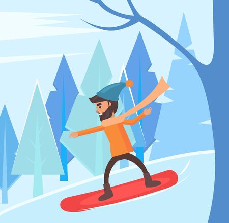Bearded man standing on board. Snowboarding personage leading active lifestyle. Guy on winter vacation going in for sport. Young male at weekends, extreme hobby of person, vector in flat style Illusztráció