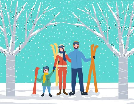Mother and father with daughter holding ski supplies. Vacations and active lifestyle of family. Parents and kid spending time in winter forest. Skiers wearing warm clothes standing by trees vector Illusztráció