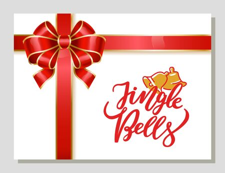 Jingle bells decorative card with calligraphic inscription for Christmas greeting. Winter holidays congratulations. Postcard with red ribbon bow and drawing and xmas symbol. Vector in flat style Illustration