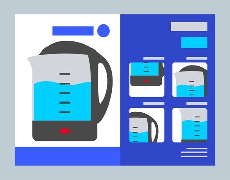 Electric kettle presentation, peculiar properties and features of device. Big sale on appliances and technical products in stores. Buy teapot in electronics supermarket. Vector illustration in flat