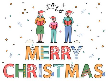 Family having fun and greeting each other with winter xmas holiday. Colorful vector caption merry christmas on white background with people. Mother, father and kid holding boxes with gifts inside