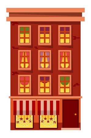House with lit windows showing curtains of rooms vector. Decoration for winter holidays, tent with garlands in form of stars. Architecture of city, modern construction in village or town flat style Archivio Fotografico - 134367575