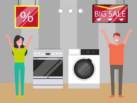 Electronics shop with big discounts and offers for clients. Happy shoppers buying oven and washing machine for home. Equipment for cleaning clothes and cooking on sale best price for customers vector Çizim