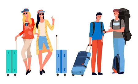 Group of tourists with luggage. Company of friends going on vacation together. Young travelers with suitcases on wheels and rucksack vector illustration