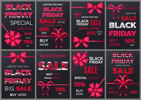 Set of banner for black friday sale announcement. Shopping with discounts and reductions. 50 Percent lowering of cost in shop. Store with big clearance and promotions for loyal clients vector