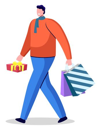 Guy holding red box and colorful bags in hands. Guy ready to give gifts and greet with holiday. Packages with presents inside and tied by ribbon. Person in sweater and pants. Vector illustration