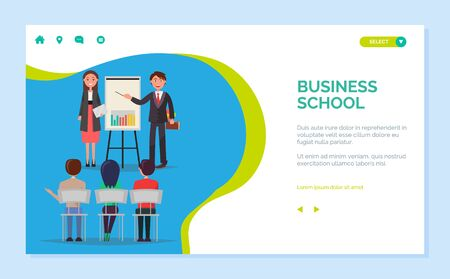 Business school vector, presenter with information gathered for people to learn. Infocharts on whiteboard, teachers and coaches mentoring. Website or webpage template, landing page flat style  イラスト・ベクター素材