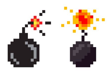 Pixel game icons vector, isolated bombs with fire. Graphics of retro gaming, flat style of weapon with flames, destruction and danger explosive substance