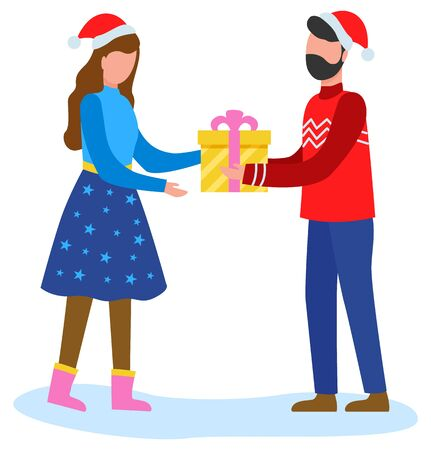 Man gives woman present in yellow box tied with pink ribbon. People happy to greet each other with gifts with winter holiday. People in red hats, traditional christmas decor. Vector flat illustration Illustration