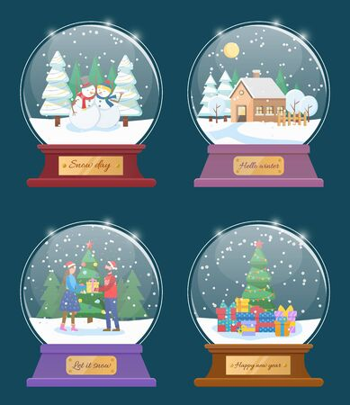 Snow globes, isolated set of toys with christmas themes. Couple exchanging gifts for new year. Pine tree with garlands and presents. Snowman figures and house with snowy roof flat style vector