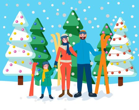 Family stand together in snowy forest or park. Mother, father and their child with skis. People ready to go skiing. Parents spend time with kid doing recreational wintertime activity. Vector in flat