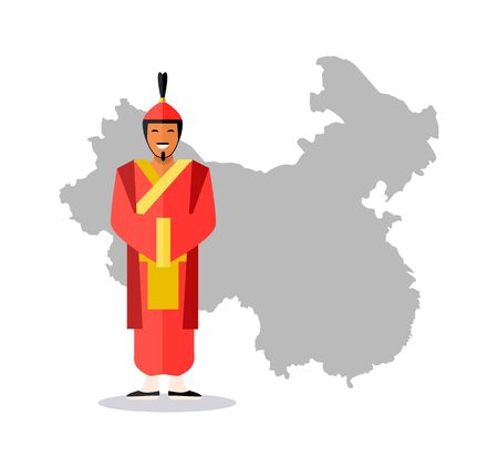 Man wearing costume of Chinese ancestors vector, male with smile on face, borders and map of China, Eastern country, Asia and Asian people isolated