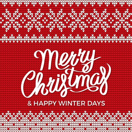 Merry Christmas and happy winter days vector. Red embroidery for holidays celebration. Stitches with floral pattern. Vintage decoration on sweaters and clothes with ornamental parts illustration