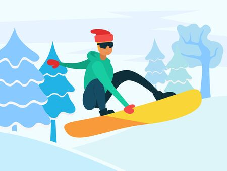 Snowboarding hobby winter recreation of character jumping on board. Landscape with hills and pine trees. Activities in cold season of year. Personage wearing warm clothes hat and gloves vector