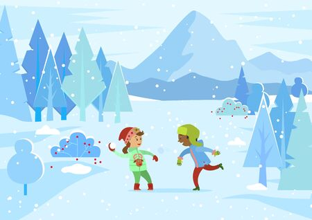 Children having fun at winter park. Boy and girl playing snowball fight outdoors. Kids wearing warm clothes throwing balls made of snow. Game of siblings at holidays or vacations, vector in flat