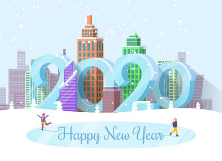 Happy New Year 2020 greeting poster with calligraphy inscription and characters on ice rink. Cityscape and citizen wearing warm clothes. Big numbers and buildings, skyscrapers of town vector